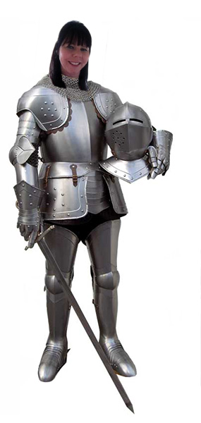 Henshalls, Sally in a suit of Armour