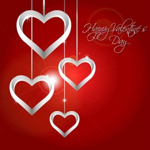 Vector Valentine´s Day Background with Silver Hearts